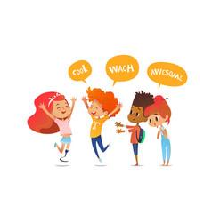 School children joyfully greet their friend with vector