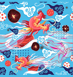 seamless graphic bright chinese pattern with red vector image
