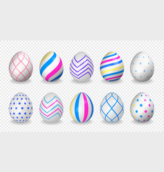 set 10 colorful easter eggs vector image