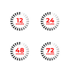 Set color icons 12 24 48 72 hours vector