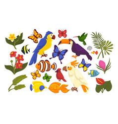 Set exotic flora and fauna in cartoon style vector