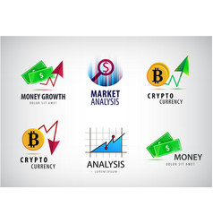set financial crypto currency logos vector image