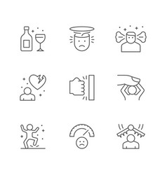 set line icons stress and depression vector image