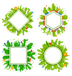 Set of 4 empty geometrical frames with cactuses vector