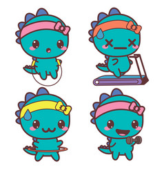 Set of dinosaur is engaged in sports stickers vector
