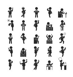 Set of fat man activities vector