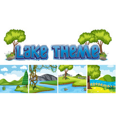 set of lake landscape vector image