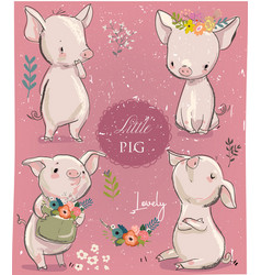 set with cartoon little pigs vector image