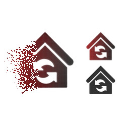 shredded dotted halftone update building icon vector image