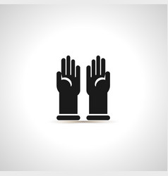 simple black icon of pair latex gloves vector image