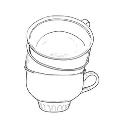Sketch of cups vector