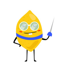Sport lemon fencing character with glass funny vector