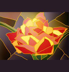 stained glass tulip vector image