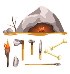 stone age tools and cave isolated icon history vector image
