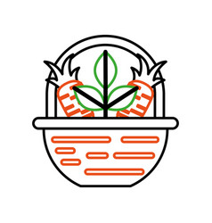 Straw basket with carrot vector