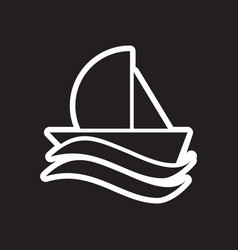Stylish black and white icon sailing on waves vector