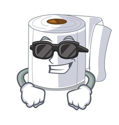 super cool character toilet paper rolled on wall vector image