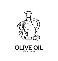 thin line icon of olive oil bottle vector image