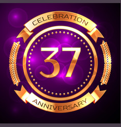 Thirty seven years anniversary celebration with vector
