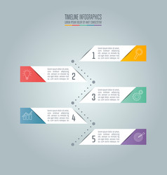 Timeline business concept with 5 options vector