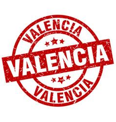 Valencia red round grunge stamp vector