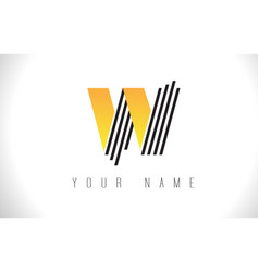 W black lines letter logo creative line letters vector