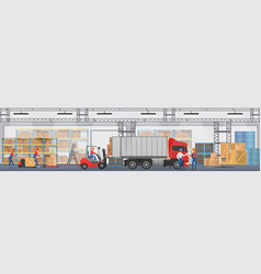 warehouse interior with workers arranging vector image