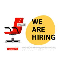 We hire ad concept hiring job chair vector