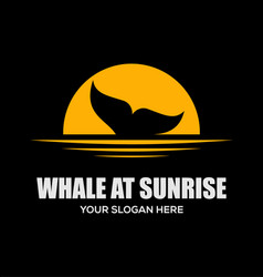 whale at sunrise logo design vector image