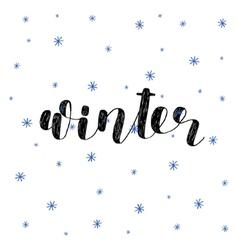 Winter Brush lettering vector image