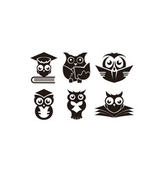 Wisdom concept owl with books in graduation cap vector