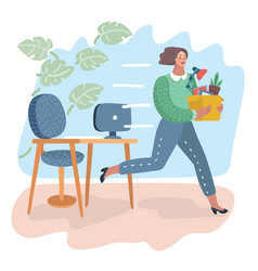 woman running away from her bad and angry boss vector image
