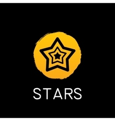 yellow star icon on black background vector image