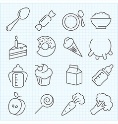 Baby food icons vector image