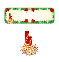 Banner Christmas Spruce with a candlestick vector image