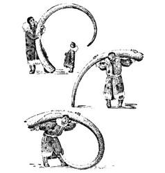 eskimo with mammoth horn bones of prehistoric vector image