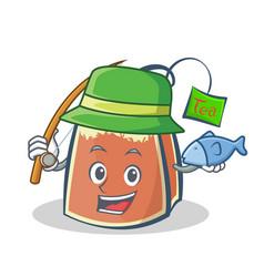 Fishing tea bag character cartoon art vector