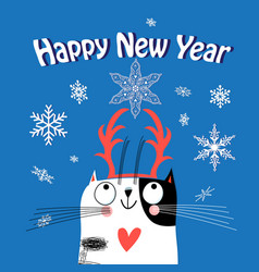 greeting card christmas with a funny cat vector image vector image