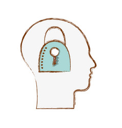 Line silhouette head with padlock inside vector