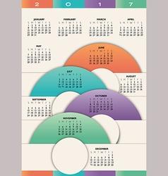 2017 calendar with circles vector image vector image
