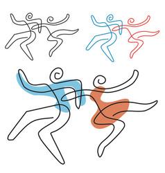 dancing couple line art vector image vector image