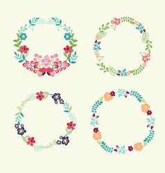 floral frame collection retro flowers wreath vector image vector image