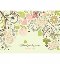 Floral paisley frame vector