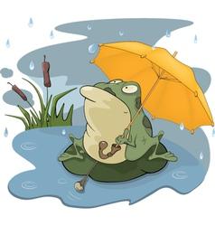 Frog and a rain cartoon vector image