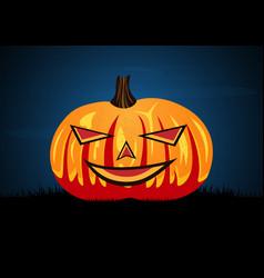 Halloween pumpkin on graveyard grass vector
