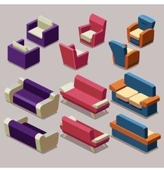 Living room isometric furniture set Sofa vector image vector image