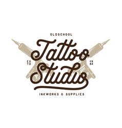 Tattoo studio typography emblem vintage vector