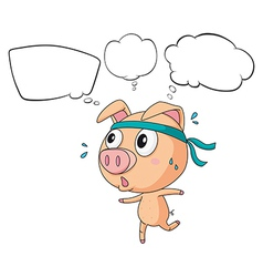 A pig exercising with empty callouts vector image