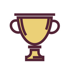 golden trophy cup with maroon outline isolated vector image