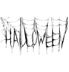 halloween text and black scary torn web vector image vector image